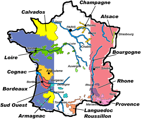 Regions of Frech Wines and Alcohol
